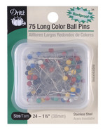Pins, Long Color Ball, 75 ct