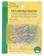 Pins, Crystal Glass Head, 50 ct