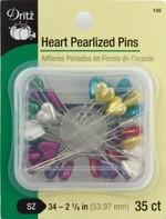 Pins, Heart Pearlized , 35 ct