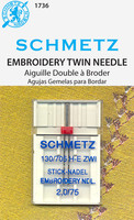 Schmetz Embroidery Twin Needle 11/75